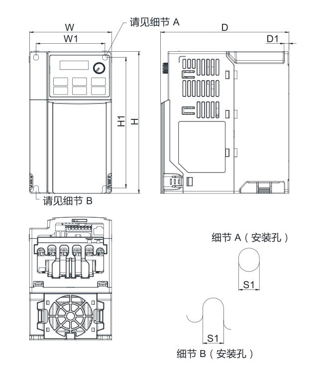 台达变频器 VFD11AME21ANNAA的安装尺寸