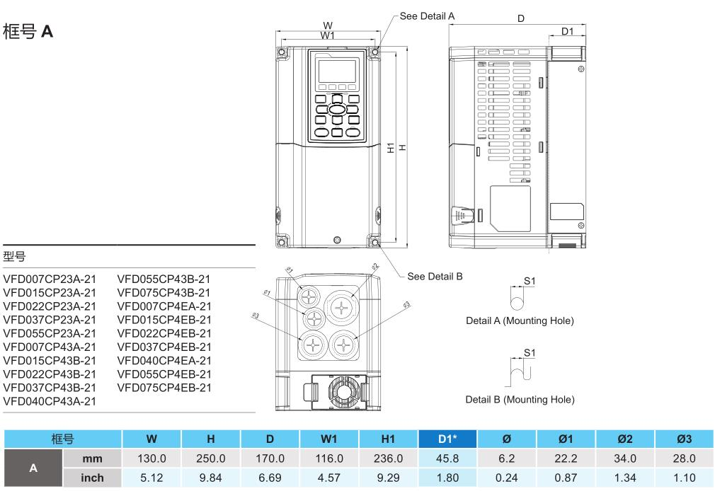 1.5kW台达变频器 VFD015CP23A-21的安装尺寸